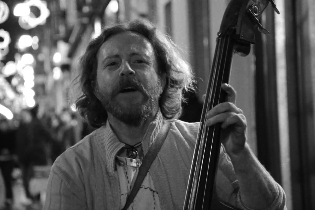 Portrait of Michelangelo Severgnini while he is playing double bass