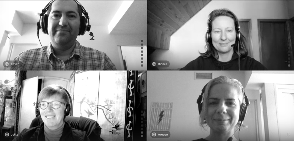 Portraits of Bianca, Jutta, Arezoo and Kaveh in an online meeting.